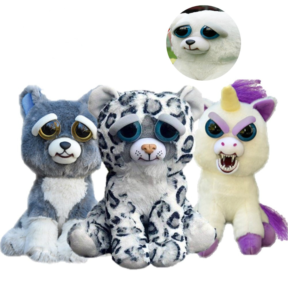 New Feisty Pets Funny Face Changing Soft Toys For Children Snow Leopard Stuffed Plush Unicorn Angry Animal Dog Doll  Bear Panda