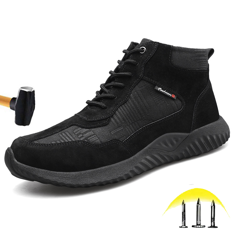 Promo Steel Toe Cap Men's Industrial Work Boots Safety Shoes  Indestructible Anti-Puncture Working Shoes outdoor Breathable  Sneakers