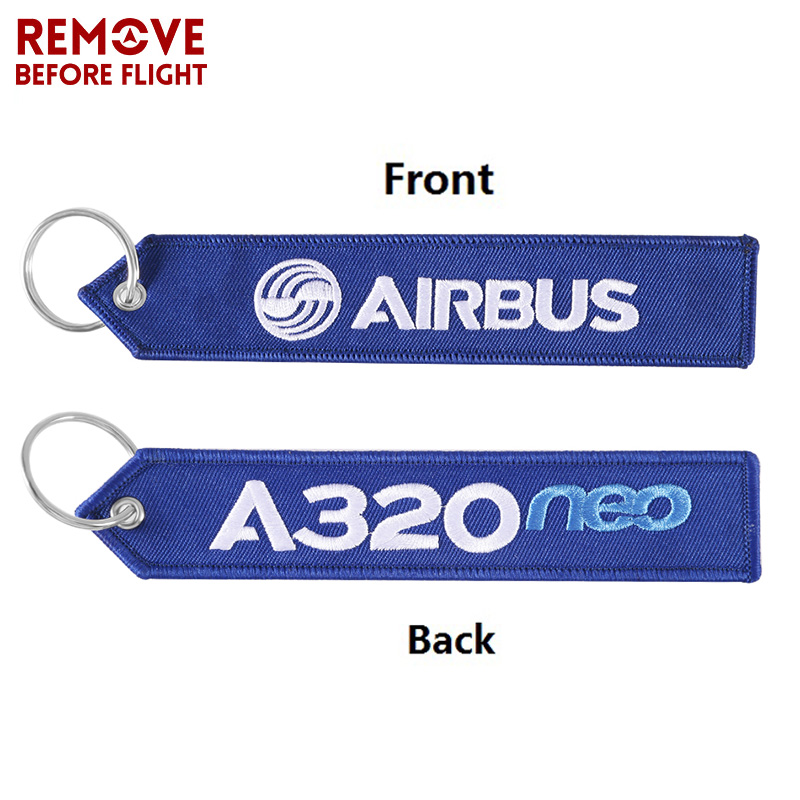 Remove Before Flight AIRBUS Keychain Embroidery A320 Special Tag Label Aviation Key Chains For Gift OEM Key Ring Fashion Jewelry