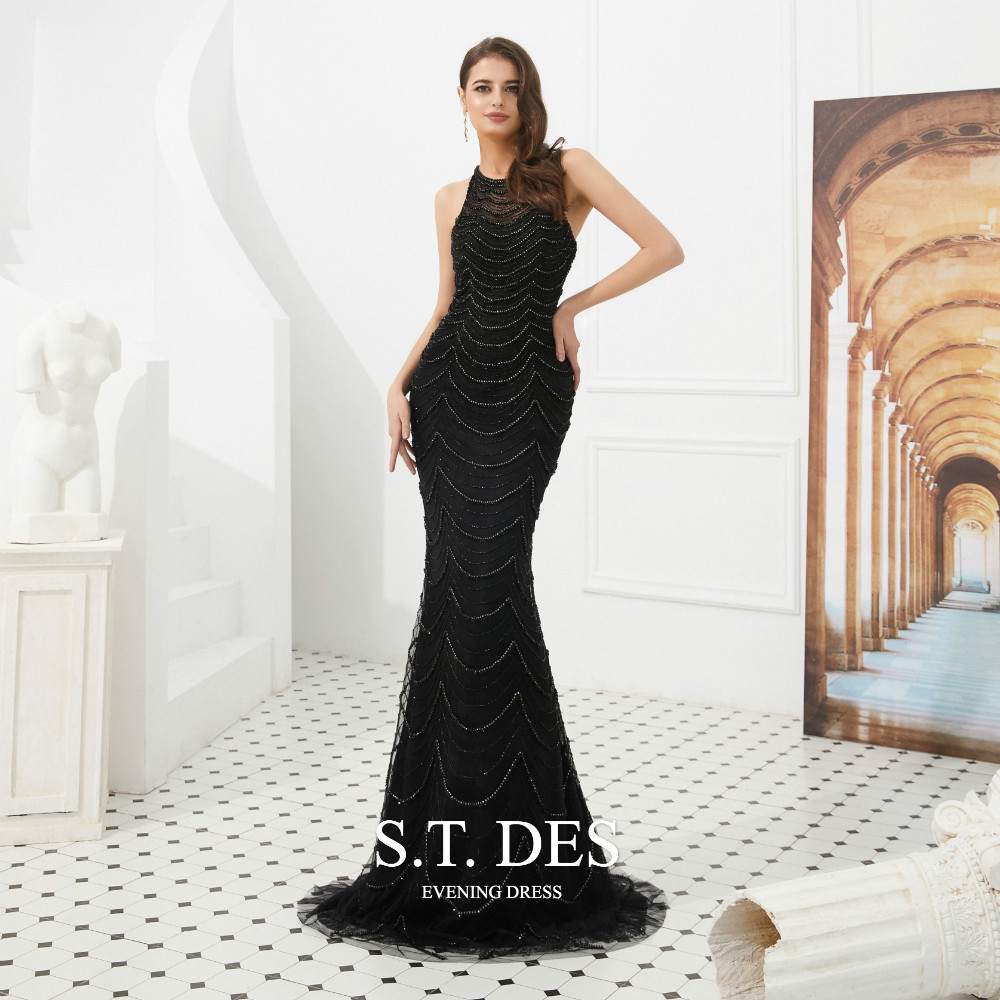 2020 S.T.DES Sexy Black Jewel Sheer Neck Sequined Beading Lace Prom Dress Illusion Sweep Train Mermaid Evening Dress Robe