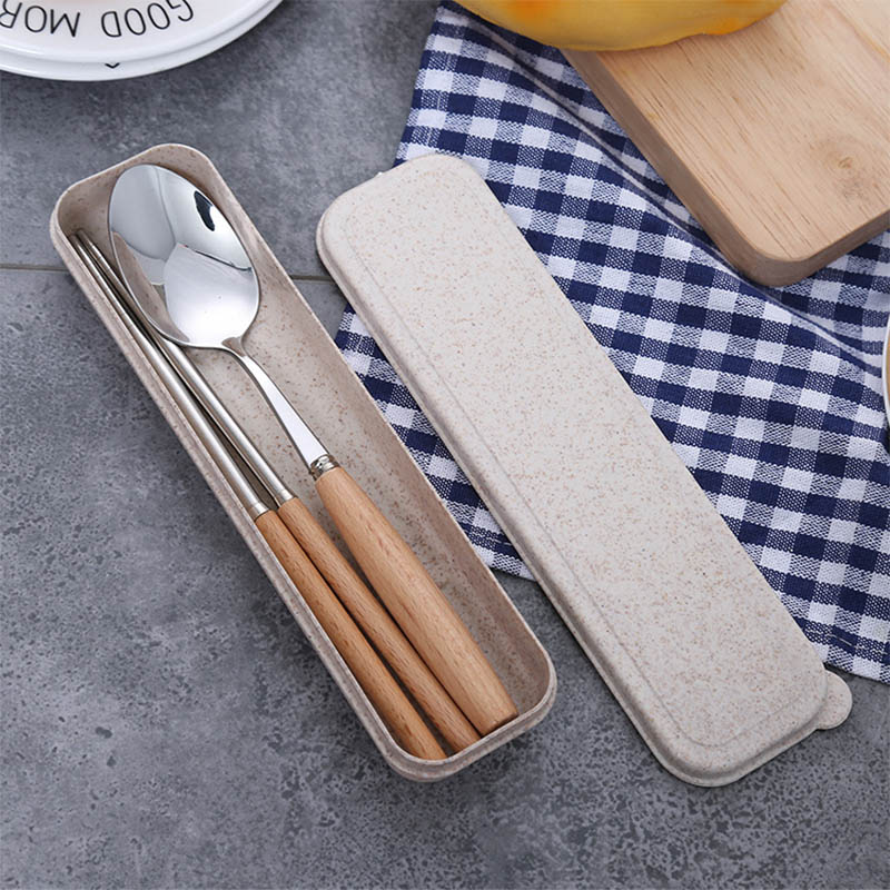 2Pcs Dinnerware Flatware Set Chopsticks Spoon Portable Stainless Steel Wooden Handle Travel Accessories Set