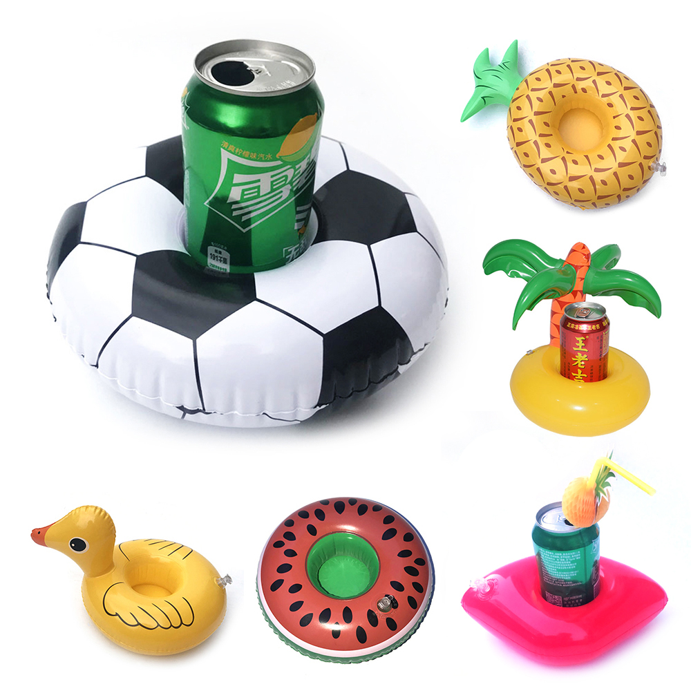 Cute Fruit Pattern Drink Holder Swimming Pool Inflatable Float Drink Cup Holder Summer Party Decorations Toy For Kid Adult
