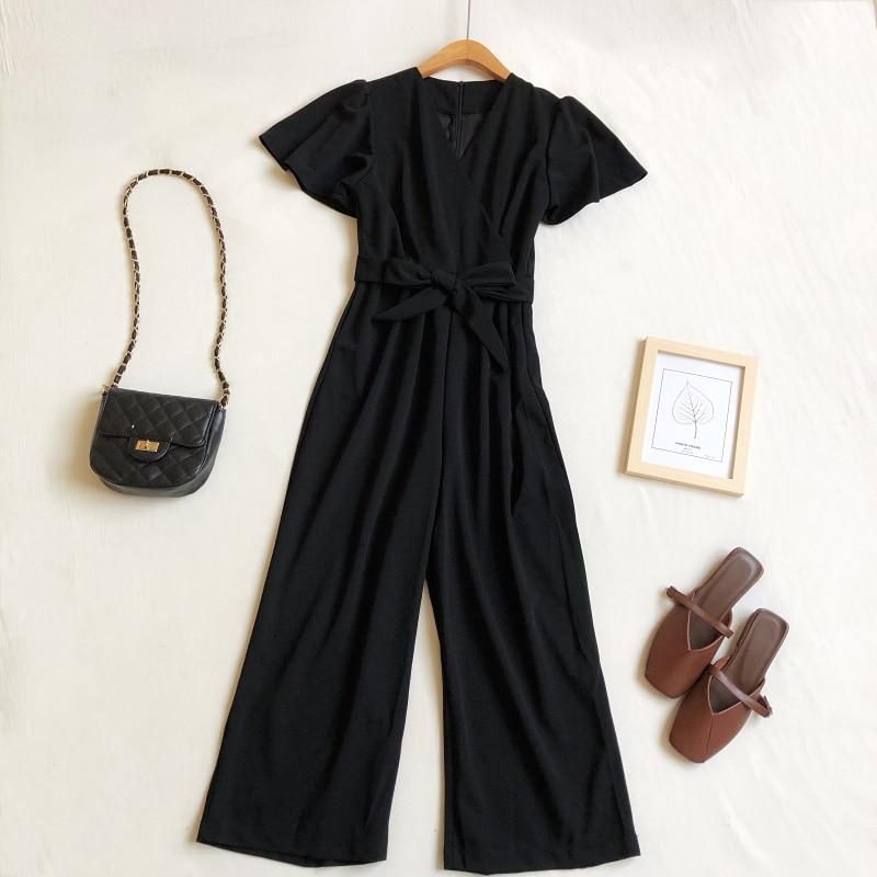 Image 5 - Женский комбинезон весна лето 2020 Корейский Новый Модный комбинезон с v образным вырезом на шнуровке с высокой талией с широкими штанинами черный комбинезонКомбинезоны   -
