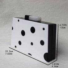 Женская акриловая черно белая коробка клатч сумочка вечерняя