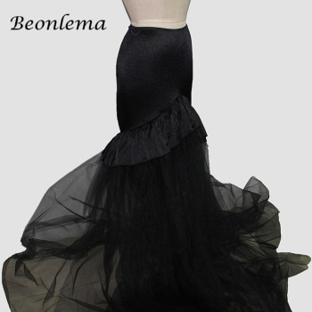 Beonlema Women Maxi Skirt Long Mesh Gothic Skirt Ruffle Lace Hem Wrap Skirt Elastic Waist Faldas Female Skirt Black M-2XL