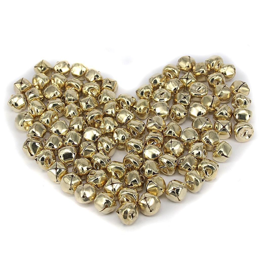 Pack von 100 15mm Eisen Ball Jingle Bells für Schmuck, Die DIY Dekoration Gold