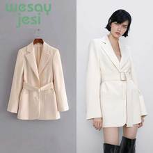Women Blazer Vintage solid color office lady New Pockets Jackets Female Retro Suits casual Streetwear women with sashes