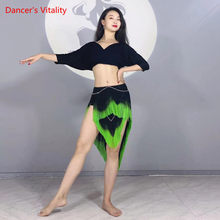 Costume de ventre en Modal, haut à manches courtes ou jupe à franges, vêtements d'entraînement, vêtements de Performance pour femmes de tempérament