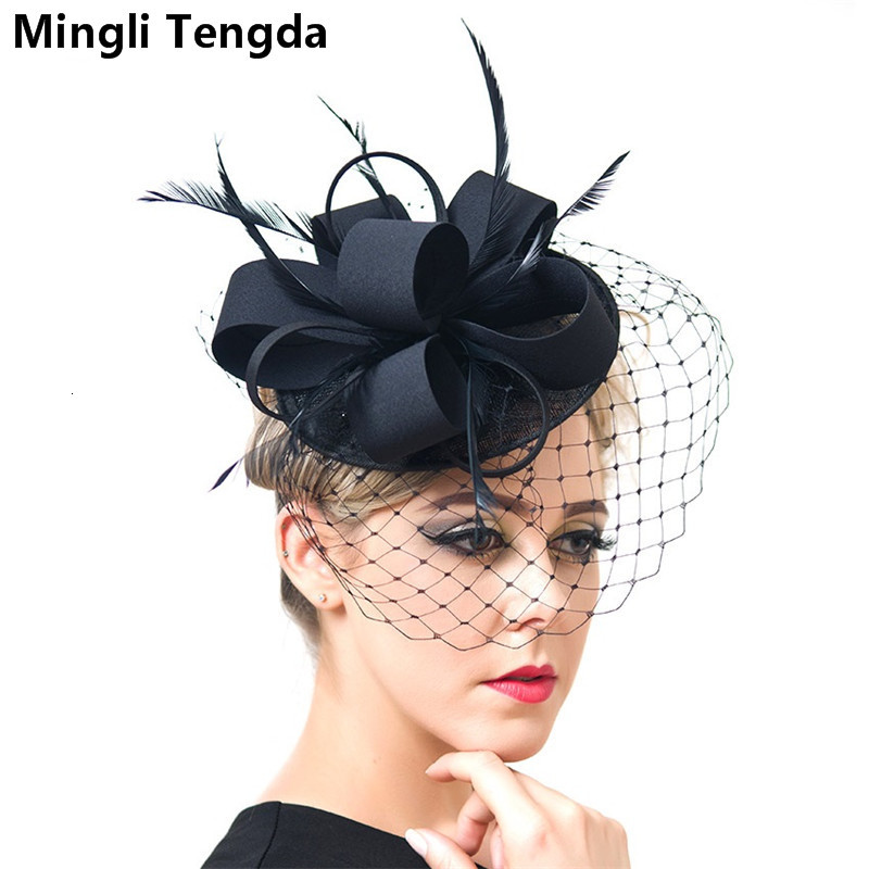 Mingli Tengda Vintage Bride Wedding Hats And Fascinators Elegant Bridal Hats For Women Wedding Hair Accessories Chapeau Mariage