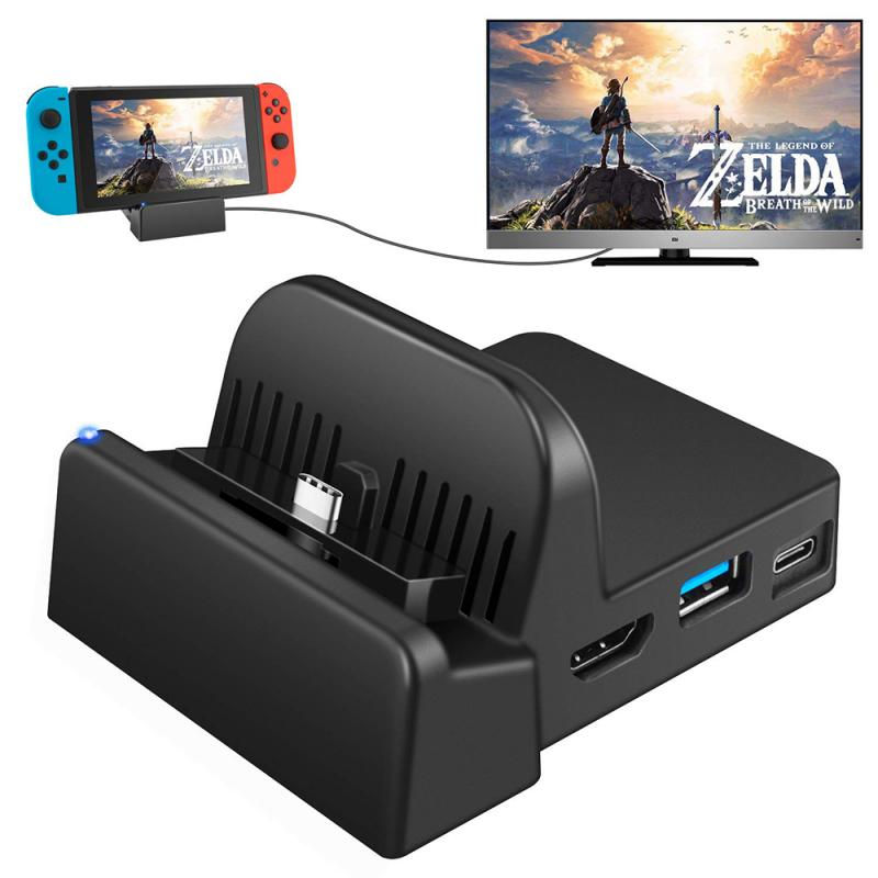 Mini Stand Docking Station Charging Dock Bracket Play HDMI-compatible 2.0A IC Solution Cooling Stand Holder For Nintendo Switch