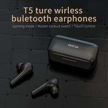 Xiaomi T5 TWS parmak izi dokunmatik kablosuz kulaklıklar Bluetooth V5.0 3D Stereo çift mikrofon gürültü iptal kulaklık