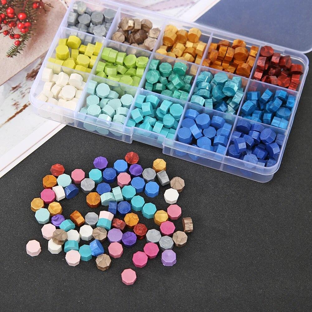 1 Box DIY Octagonal Sealing Wax Tablet Seal Dedicated Stamp Wax Pill Beads ③