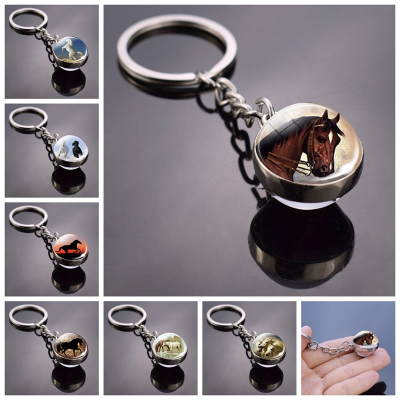 Horse Keychain Horse Picture Glass Ball Keychain Double Side Glass Cabochon Cabochon Glass Pendant Metal Keyring Animal Jewelry