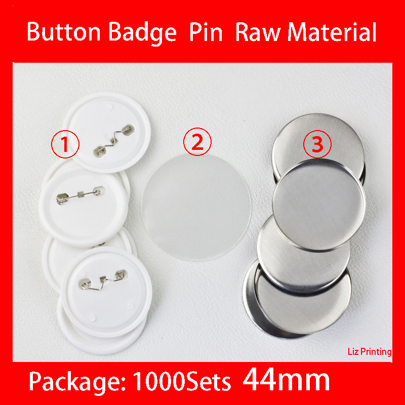1000Sets/Carton <font><b>44mm</b></font> <font><b>Button</b></font> Badge <font><b>Pin</b></font> Raw Material <font><b>Pin</b></font> <font><b>button</b></font> badge supplies parts image