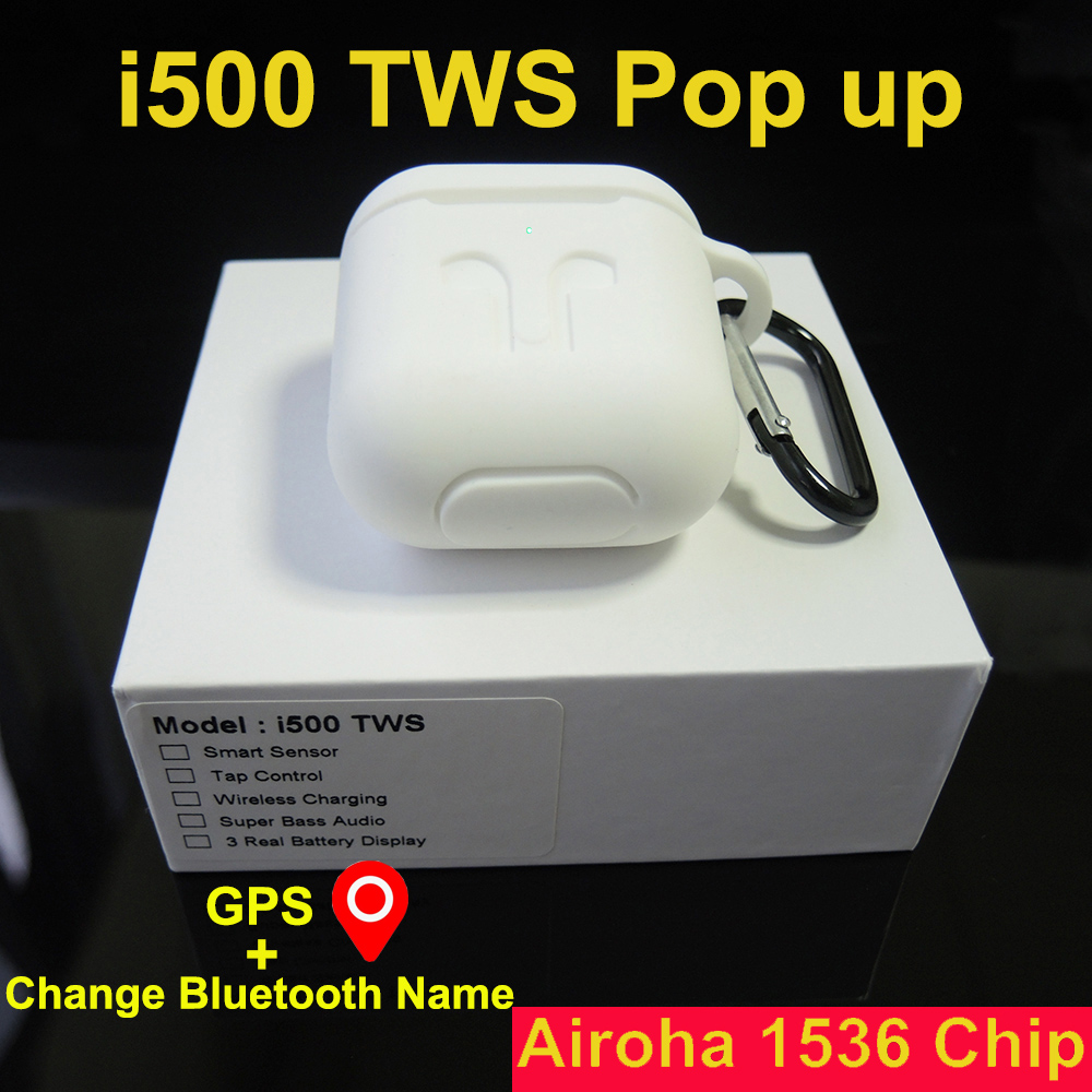 <font><b>I500</b></font> <font><b>TWS</b></font> <font><b>Smart</b></font> Ear <font><b>Sensor</b></font> Pop-up Bluetooth Earphone Wireless Headphones GPS Locations for IOS Change Bluetooth Name Earbuds image