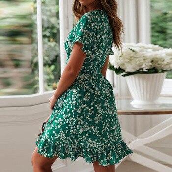 Женские летние платья 2020, сексуальное пляжное платье Бохо С V-образным вырезом и цветочным принтом, ТРАПЕЦИЕВИДНОЕ мини-платье с коротким рукавом и оборками, сарафан с запахом, Халат 3