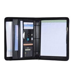 A4 PU cuero multifuncional carpeta de documentos cartera de negocios de oficina Padfolio organizador cierre con cremallera hoja suelta