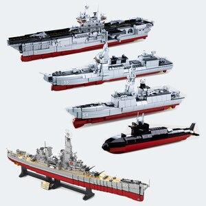 Image 1 - ship Carrier military submarine sets boat Battleship warship model Building kits Blocks bricks kid toys