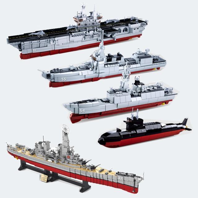 ship Carrier military submarine sets boat Battleship warship model Building kits Blocks bricks kid toys