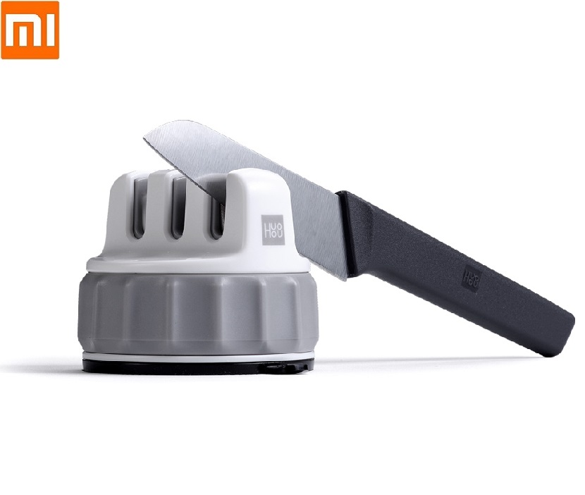 Xiaomi HUOHOU Fixable Sharpen Stone Trible Wheel Whetstone Sharpeners Kitchen Sharpening Stone Grinder Knives Tools