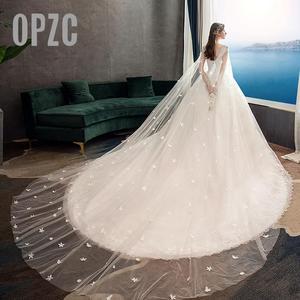 Image 2 - Moda luz vestido de casamento 2020 novo luxo longo trem real estrela francesa noiva super fada floresta sonho casamento vestido fantasia fio