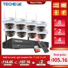 Беспроводная камера Techege, 8 каналов, HD1080P, беспроводная система фотоаппаратов, Wi Fi, NVR, антивандальная купольная камера, комплект камер наблюдения с Wi Fi