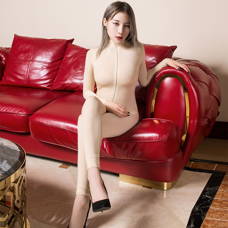 SEKEED Transparent Romper Skinny Double Zipper Party Erotic Costumes Sexy See Through Open Crotch Bodycon Long Sleeve Jumpsuits