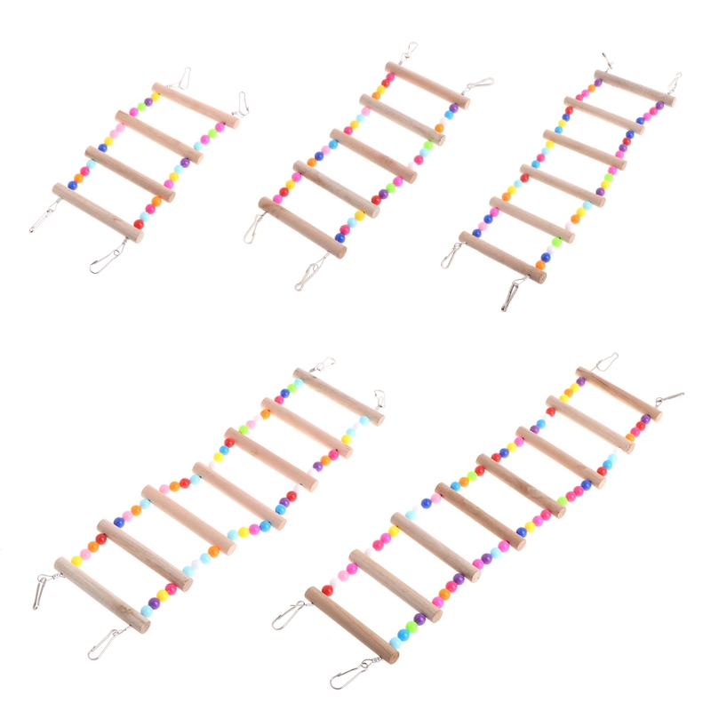 Birds font b Pets b font Parrots Ladders Climbing Toy Hanging Colorful Balls With Natural Wood