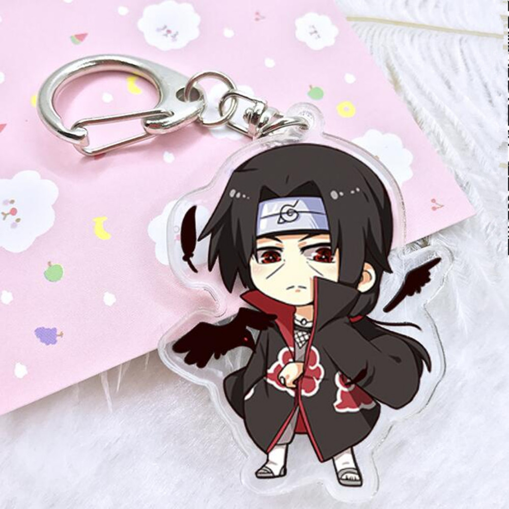 Naruto Key Chain Men Acrylic Man Keychain Kakashi Gaara Sasuke Akatsuki Members Itachi Cartoon Pendant Keyring Llavero Chaveiro(China)