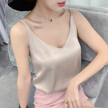 Korean Silk Top Women V-neck Satin Tank Tops Woman Sleeveless Black Tees Cami Sexy Halter Top Plus Size Elegant Women White Tops image