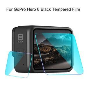Image 2 - מזג זכוכית מסך מגן עבור Gopro גיבור 8 ספורט מצלמה מסך מגן קולנוע מזג זכוכית מצלמה אבזרים