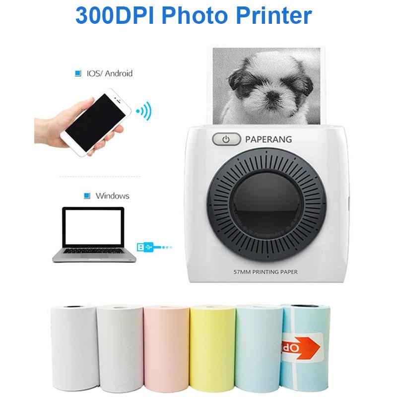 PAPERANG P2 Pocket Portable Bluetooth Photo Printer Mini 300 DPI Thermal Label Sticker Printer For Mobile IOS Android Windows