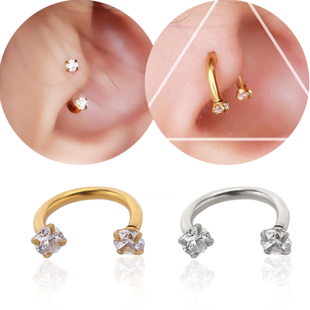 1pair Surgical Steel Zircon U-shaped Cartilage Ear Stud Ear Piercing Jewelry Cartilage Earrings Women Sexy Piercing Body Jewelry