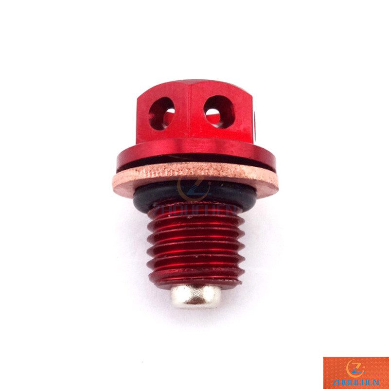 Red Oil Magnetic Drain Bolt Plug For Chinese <font><b>Engine</b></font> <font><b>Lifan</b></font> YX Zongshen Loncin Pit Dirt Bike 50cc 90cc 110 125cc 140cc 150cc <font><b>160cc</b></font> image