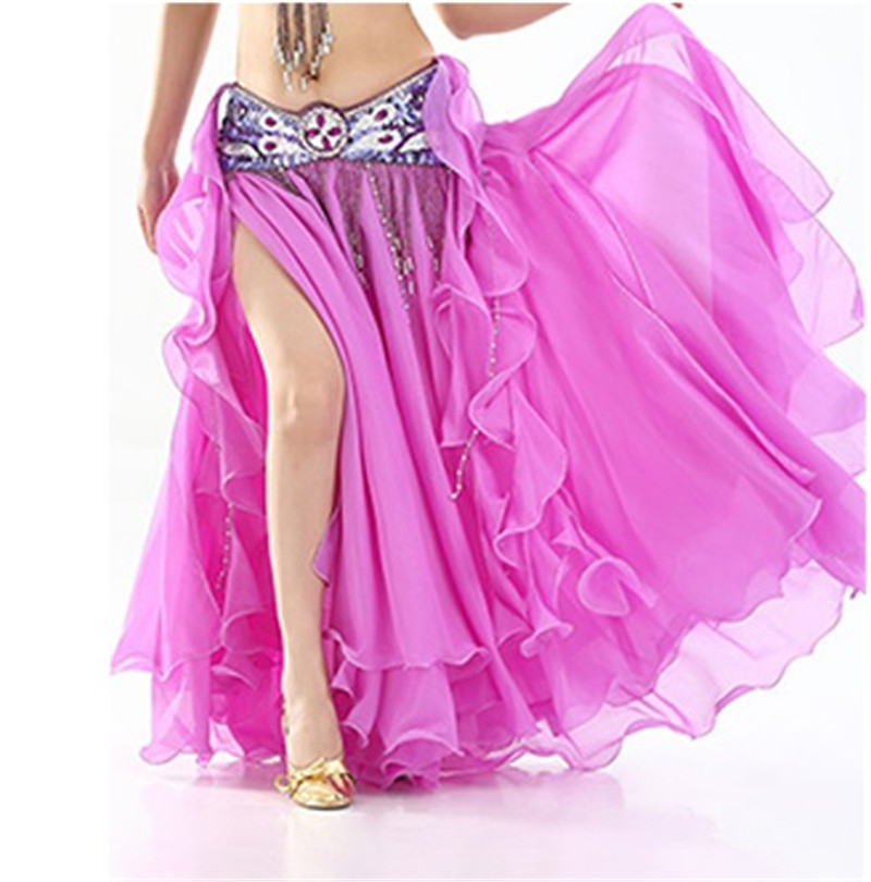 2020 Women Belly Dance Skirt Slit Long Maxi Skirts  Belly Dance Clothing Sexy Oriental Professional Belly Dance Skirts 13 Colors