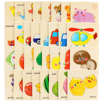 цена 3D Jigsaw Puzzle Wooden Toys For Children Cartoon Animal Fruits 8 set Puzzles Intelligence Kids montessori Educational Toy Toys онлайн в 2017 году