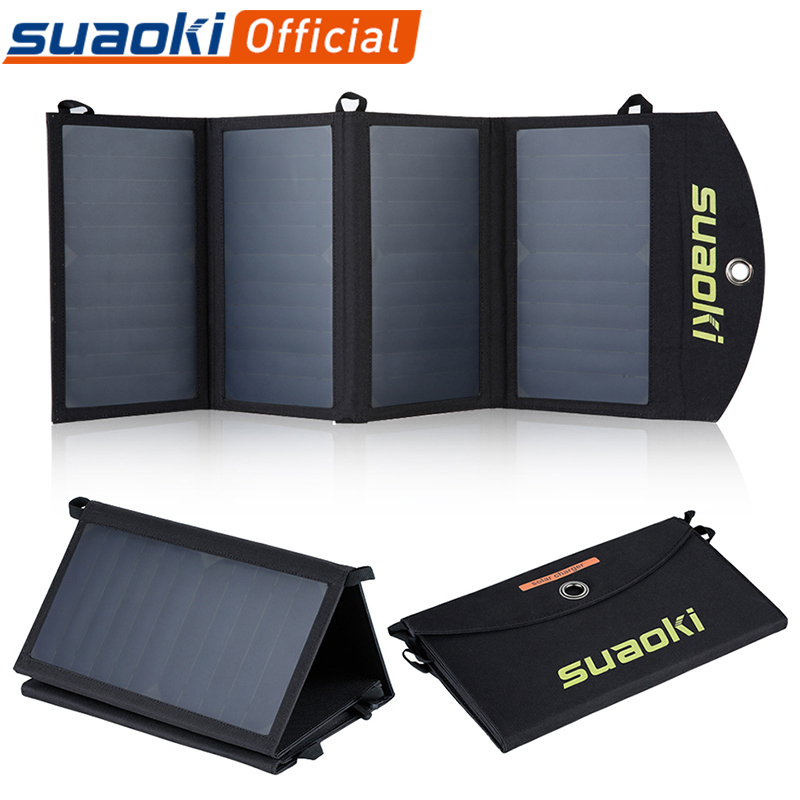 Suaoki 25W Solar Panels Portable Folding Foldable Waterproof Dual 5V/2.1A USB Solar Panel Charger Power Bank for Phone Battery image