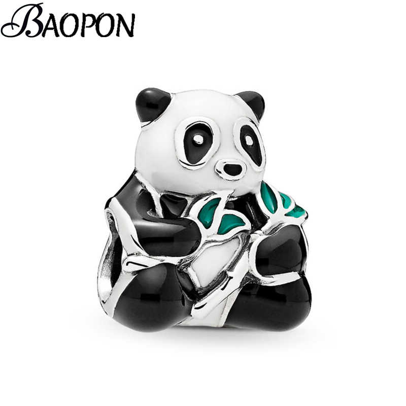 2Pcs/Lot Silver Color Cute Panda Beads fit Pandora Charm Bracelet DIY Jewelry Women Jewelry Accessories Gift