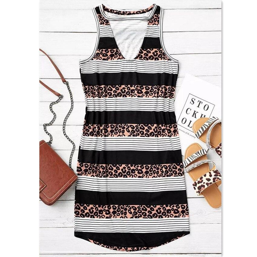 Sexy Summer Women Casual V Neck Leopard Print T-shirt Dress Elegant Loose Plus Size Sleeveless Tank Shirt Dresses Vestidos