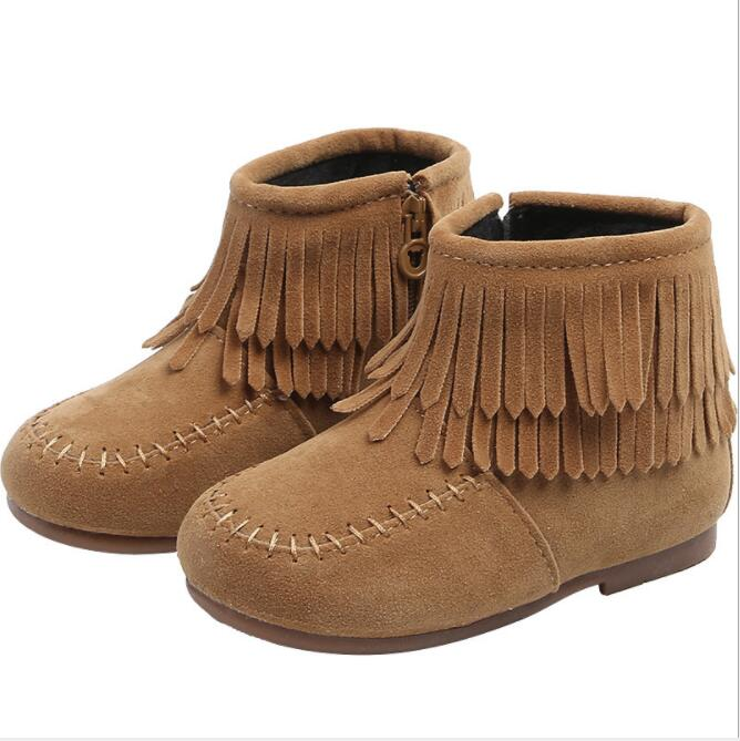 Girls Ankle Boots Princess Sweet Red Khaki Black Flock Fabric Warm Rubber Boots For Toddler Kids Cotton-padded Tassels