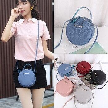 цена на New Messenger Women Bag Personality Simple Bag PU Leather Single Shoulder Portable Fashion Small Fresh Round Bag