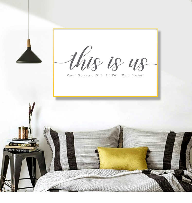 Modern Our Story Our Life Our Home Black and White Canvas Prints Wall Art Paintings POP Wall Posters Pictures for Bedroom Decor