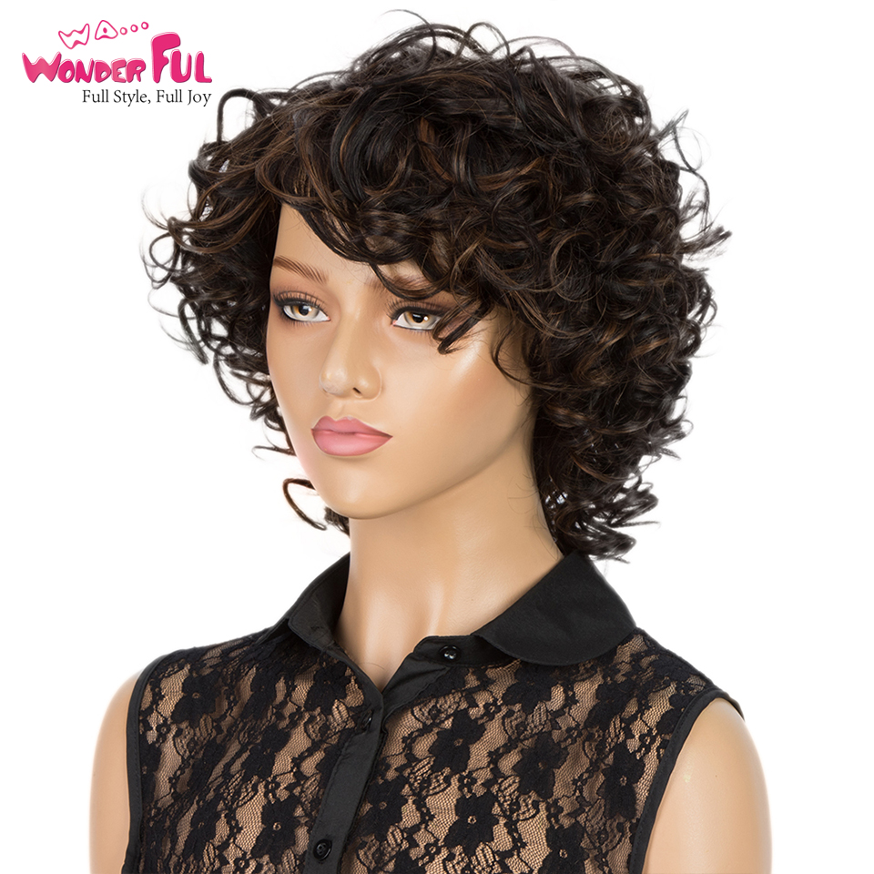 Short Wet And Wavy Human Hair Wig Cheap Wigs For Women Brown Ombre Human Hair Wig Full Machine Made 100% Human Wigs Remy Hair