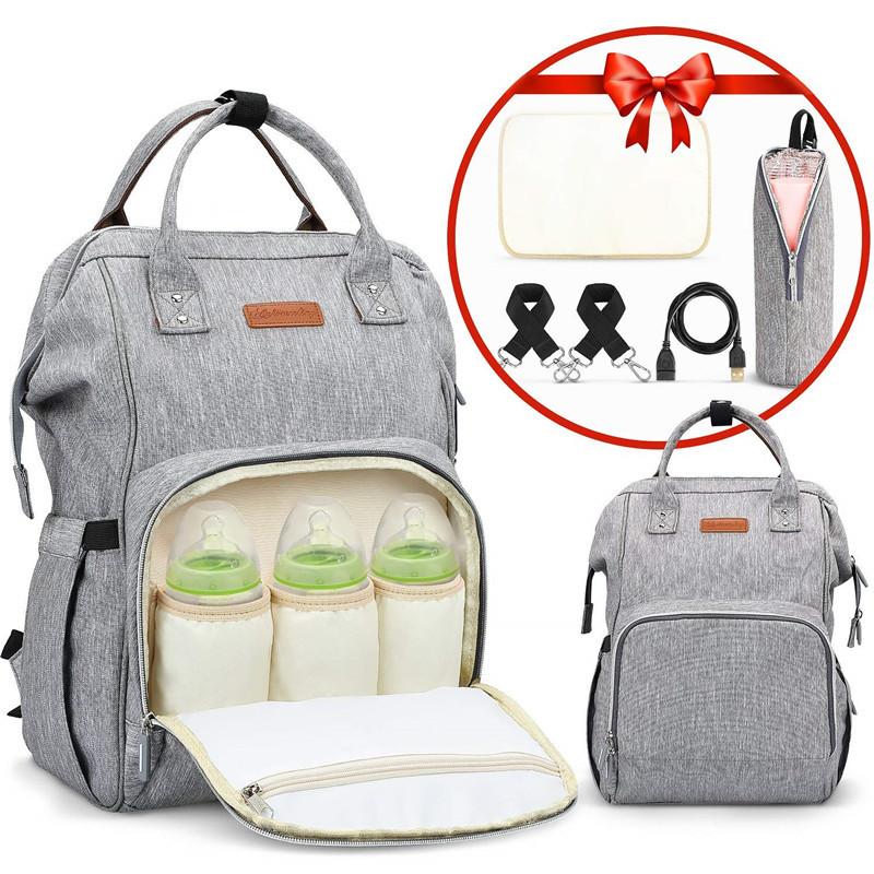 Baby Diaper Backpack With USB Charging Port Cable Insulated Bag Large Capacity Backpack Nappy Bags Waterproof Travel Backpack