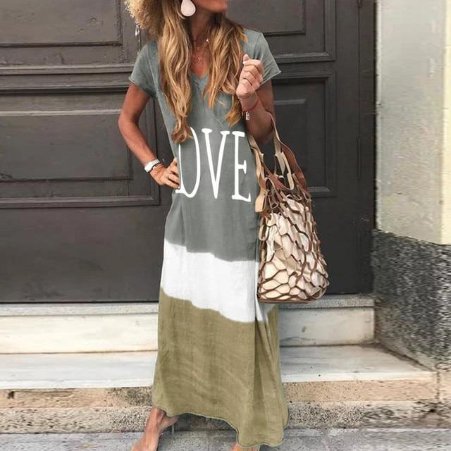 2020 Maxi Long Dress Summer Dress Women Letter Print Patchwork Sundress Casual Loose Plus Size Sexy V Neck Vestidos 4