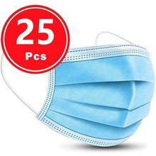 Mascarilla desechable no tejida de 3 capas para adultos, máscara transpirable con banda elástica para las orejas, 25 uds., 1211