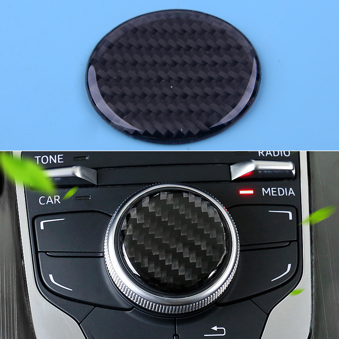 CITALL NEW Carbon Fiber Black Car Multi-Media Control Knob Decor Sticker Fit For Audi A3 S3 8V 2014 2015 2016 2017 2018 2019 image