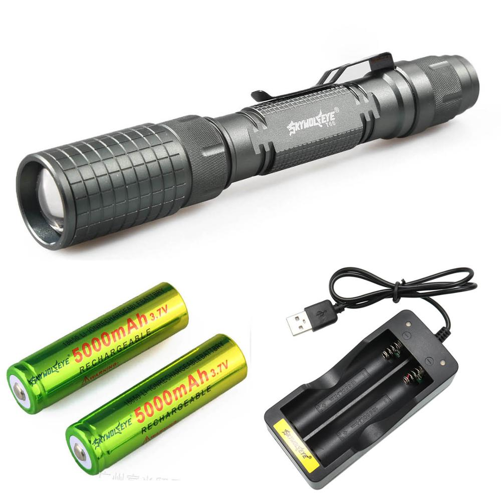 Zoom 5 Mode XML T6 5000lumen LED Flashlight 18650 Waterproof Tactical Police Torch Light For Outdoor Hunting Flash light Lantern|LED Flashlights| - AliExpress