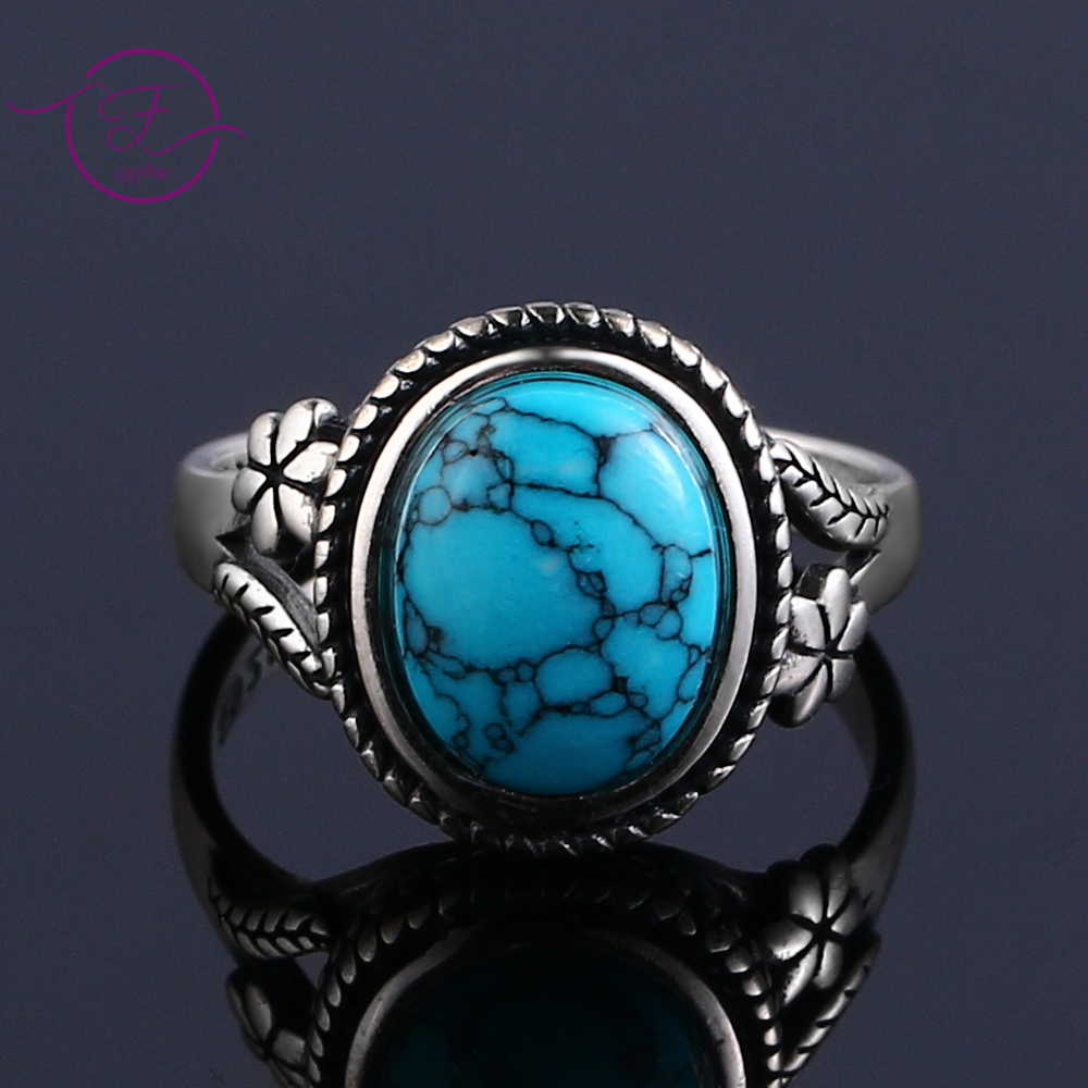 S925 Silver Fashion Jewelry Femme Natural Turquoise Personalized Rings For Women Engagement Wedding Jewelry Gift
