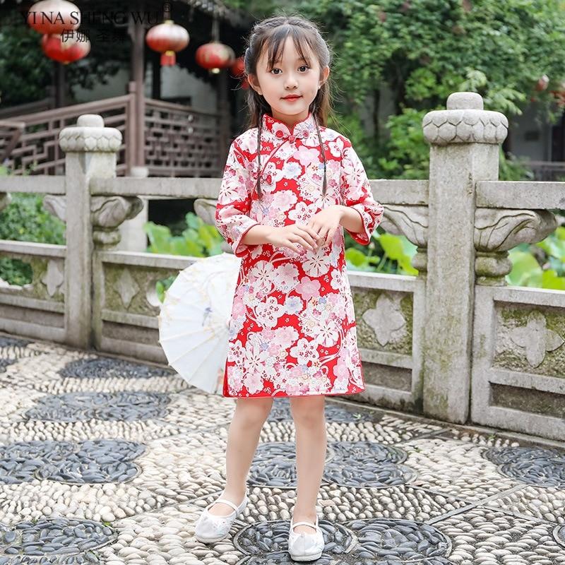 Baby Girls' Cute Qipao Dresses New Year Gift Kids Party Clothes Costume Children Chinese Half Sleeve Cheongsam Dress Wear New